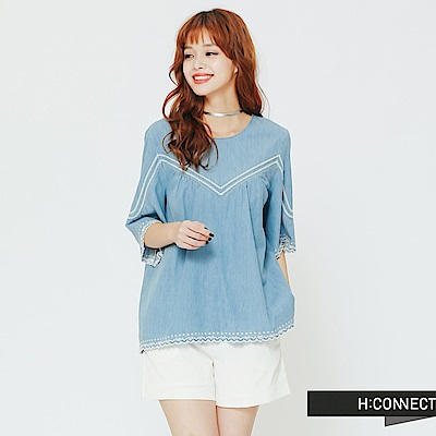 H:CONNECT 韓國品牌 女裝 - 刺繡滾邊牛仔上衣-藍