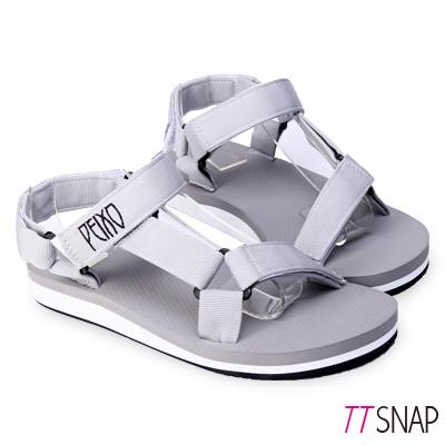 TTSNAP涼拖鞋-MIT寬版織帶足弓輕巧涼拖鞋 灰