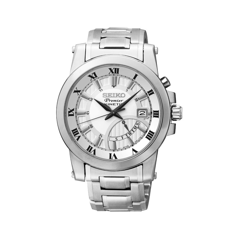 SEIKO Premier 逆跳式星期人動電能腕錶(SRN037J1)-銀/41mm
