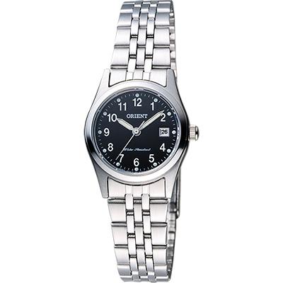 ORIENT 東方錶 優雅數字石英女錶-黑x銀/26mm