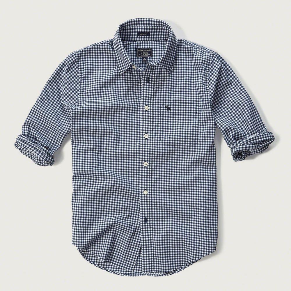 AF a&f Abercrombie & Fitch 長袖 襯衫 深藍色