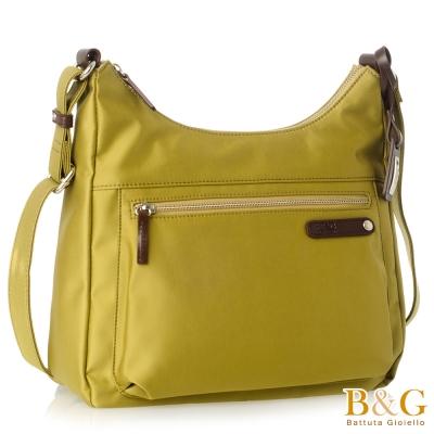 B&G 輕時尚悠閒寬底斜肩背包(馬卡龍金)