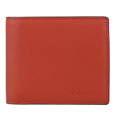 COACH 全皮革男士對折多功能8卡短夾(橘紅)