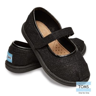 TOMS 亮粉瑪麗珍鞋-幼童款(黑)