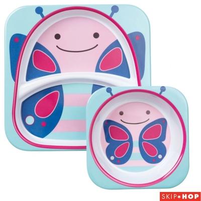Skip Hop 小蝴蝶款動物兒童餐具組合