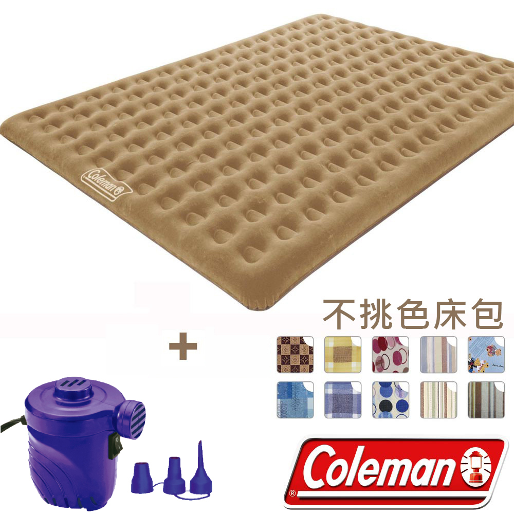 Coleman N608+17662 充氣睡墊+打氣機+床包  300露營帳篷用充氣床