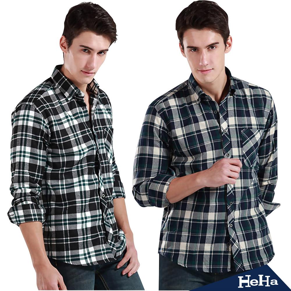 【HeHa】法蘭絨英倫格紋長袖襯衫(共三款)