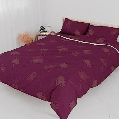 米夢家居-100%精梳純棉印花床包+雙人兩用被套四件組(蒲公英紫)-雙人<b>5</b>尺