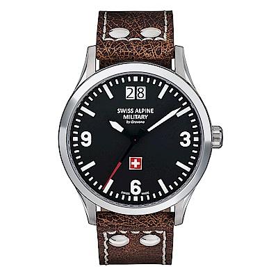阿爾卑斯軍錶S.A.M -獨家限定-空戰系列-黑色錶盤/皮帶/43mm