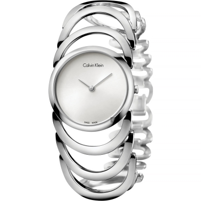 Calvin Klein CK Ladies 設計師手環錶-銀/30mm