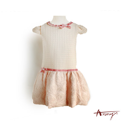 Annys浪漫荷葉絨壓紋布拼玫瑰網紗擺洋裝*5212粉