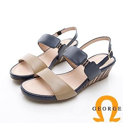 GEORGE 喬治-撞色木紋真皮扣環厚底涼鞋楔型鞋-卡其