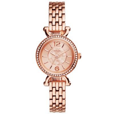 FOSSIL 時光交錯晶鑽時尚腕錶-玫瑰金/26mm