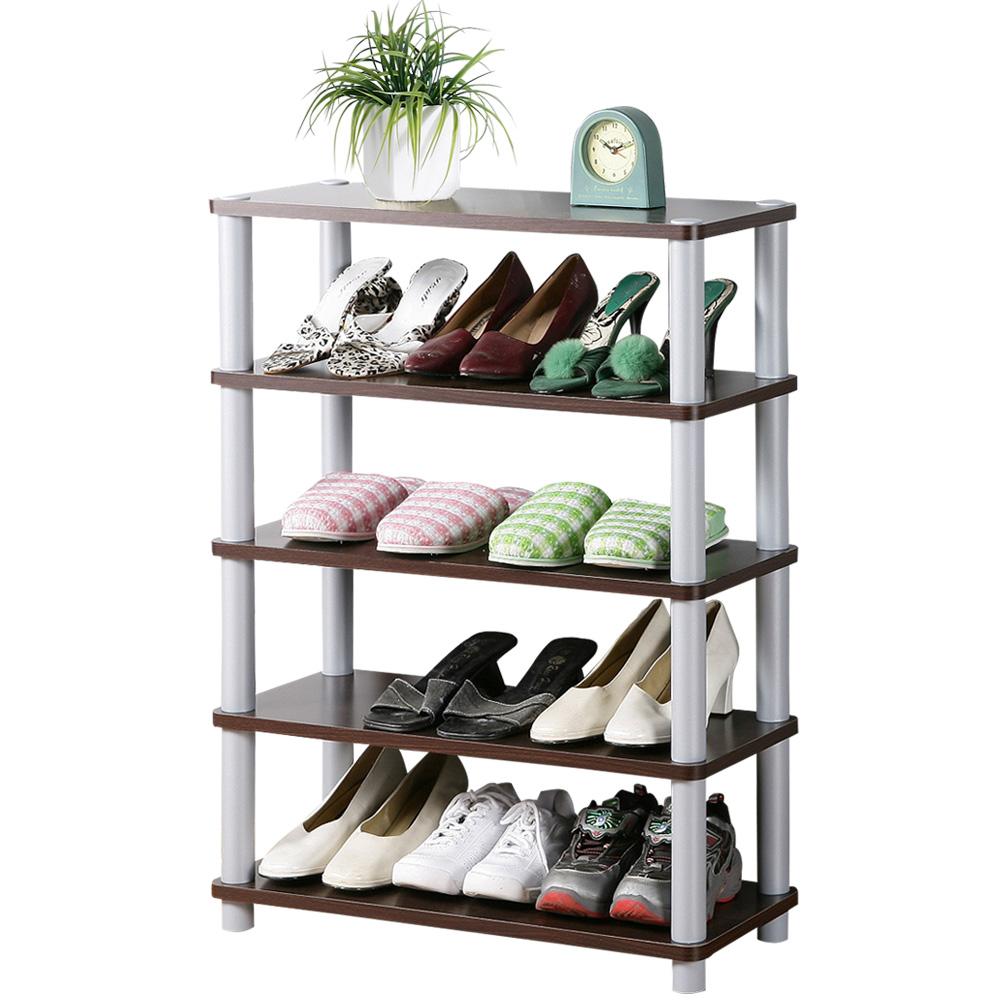 《Homelike》簡約五層開放式鞋架-胡桃色