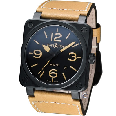 Bell & Ross 飛鷹戰士自動機械陶瓷腕錶-黑x駝色/42mm