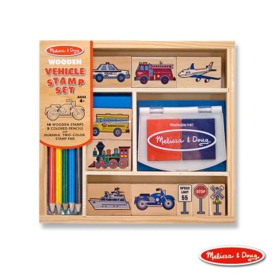 美國瑪莉莎 Melissa & Doug 木製印章組 - 交通工具組 16pcs