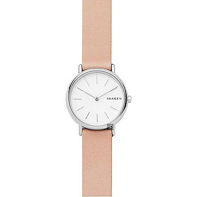 Skagen Signature 北歐簡約女錶-白x粉色錶帶/30mm