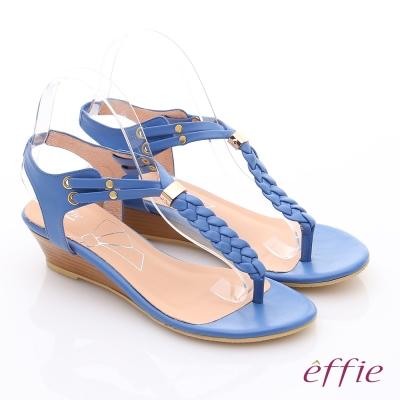 effie  個性涼夏 Y字麻花鬆緊帶小坡跟涼鞋 藍色