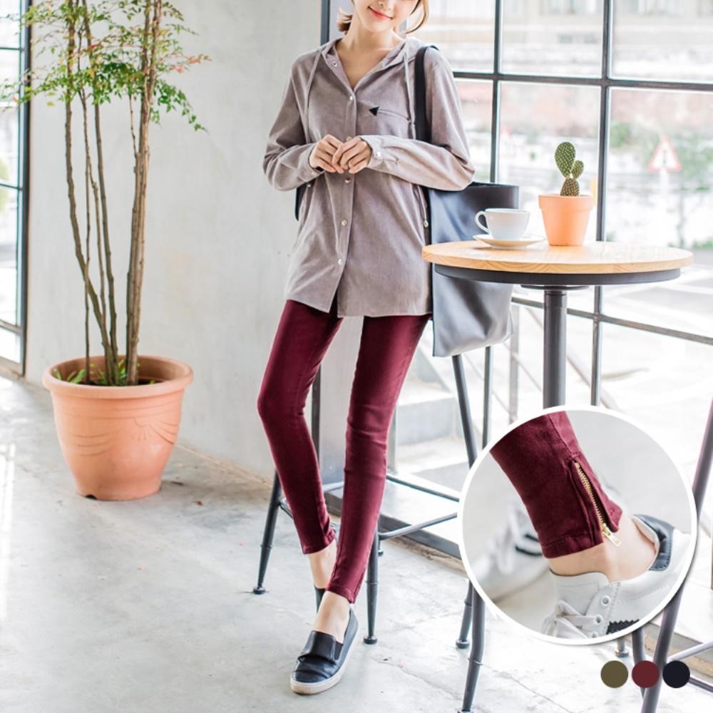 斜紋彈性質感拉鍊襬造型九分窄管褲.3色-OB嚴選