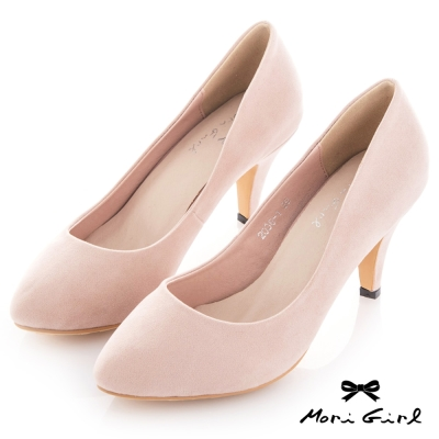 Mori girl 經典必備微尖頭素面跟鞋 粉杏