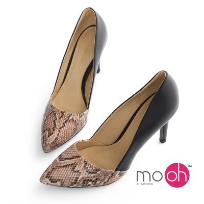mo-oh-尖頭蛇紋拼接細跟OL高跟鞋