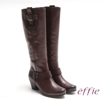 effie 城市漫遊 全真皮蠟感牛皮鬆緊帶飾長靴 咖啡