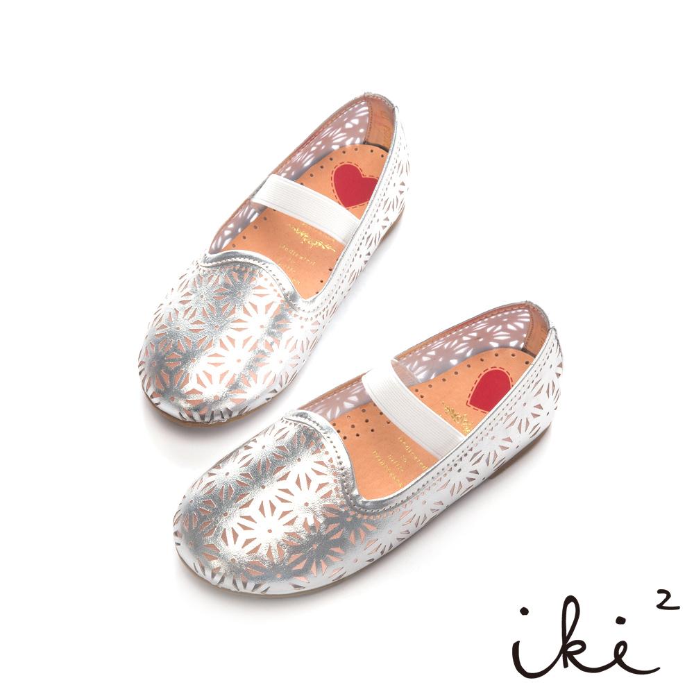 iki2童鞋-跳耀芭蕾繫帶娃娃鞋-銀