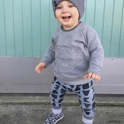 Huxbaby 澳洲 淺藍字母有機棉休閒內搭長褲