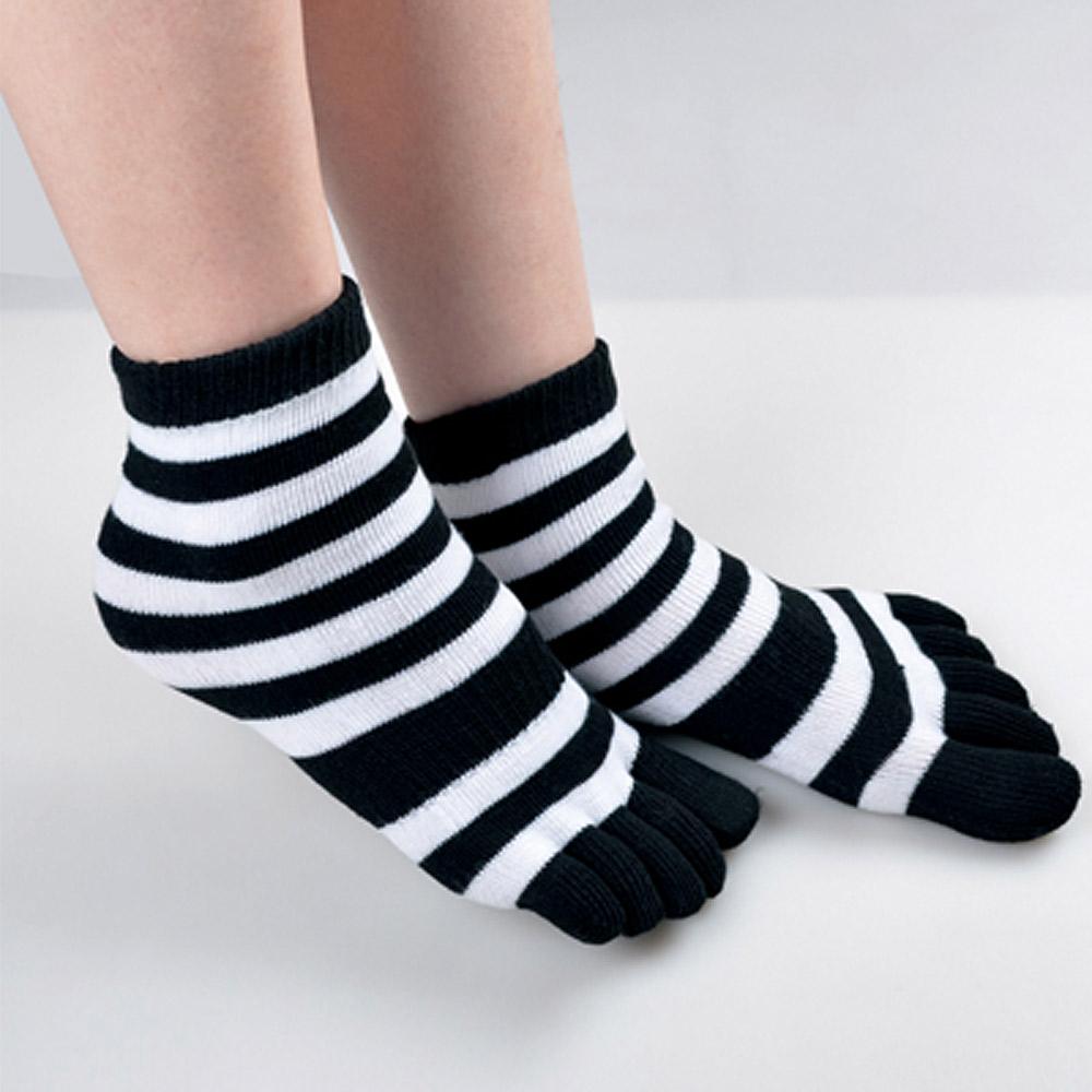 貝柔 舒服棉五指襪-條紋短襪6入