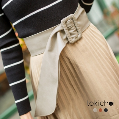 東京著衣 多色質感皮革寬腰帶(共三色)