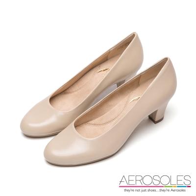 AEROSOLES-原色真皮弧形粗高跟鞋-清新裸色