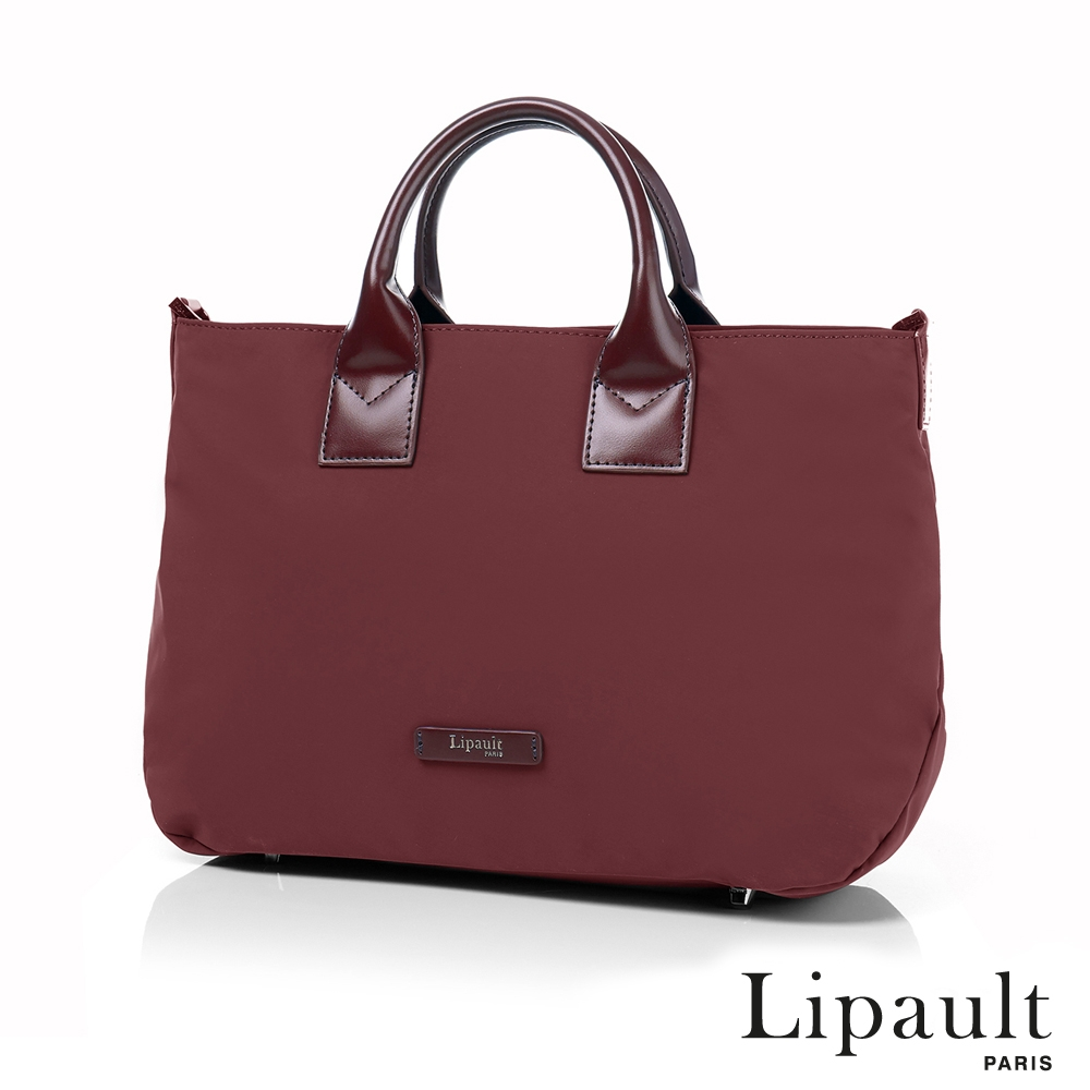 法國時尚Lipault 輕量手提斜背包M(深酒紅)