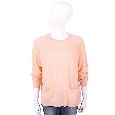 ALLUDE 100%羊毛粉橘色雙口袋針織衫