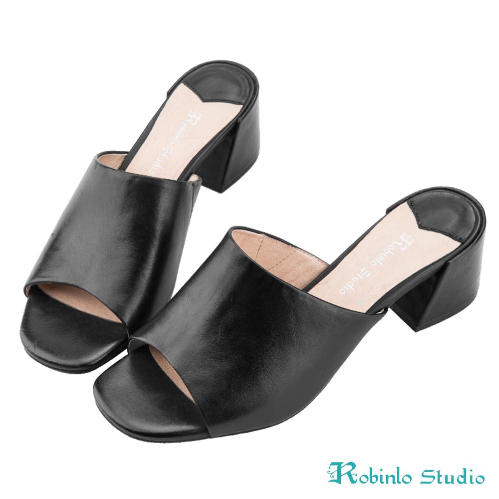 Robinlo Studio復古摩登牛皮粗跟穆勒拖鞋 黑色