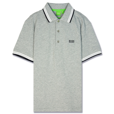 HUGO BOSS 綠標滾邊線素面POLO男衫(灰)