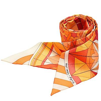 HERMES 愛馬仕Rose de Compas萬花筒圖騰造型Twilly絲巾(橘-一組)