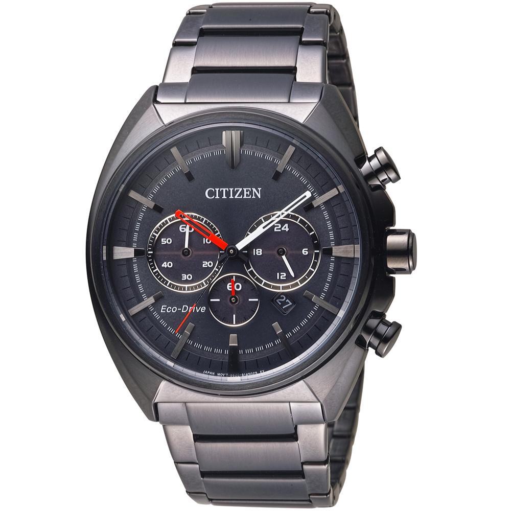 CITIZEN 星辰 光動能碼錶計時男錶(CA4285-50H)-鍍黑/45mm