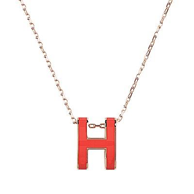 HERMES愛馬仕經典POP系列H字母立體簍空橢圓LOGO鎖骨項鍊(珊瑚紅X玫瑰金)