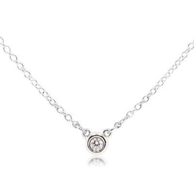 Tiffany&Co. 純淨圓形0.03克拉鑽石純銀項鍊