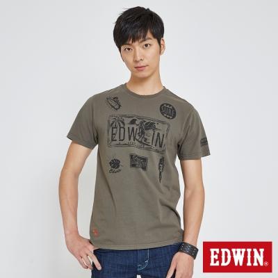 EDWIN 衝浪圖騰印花T恤-男-橄欖綠