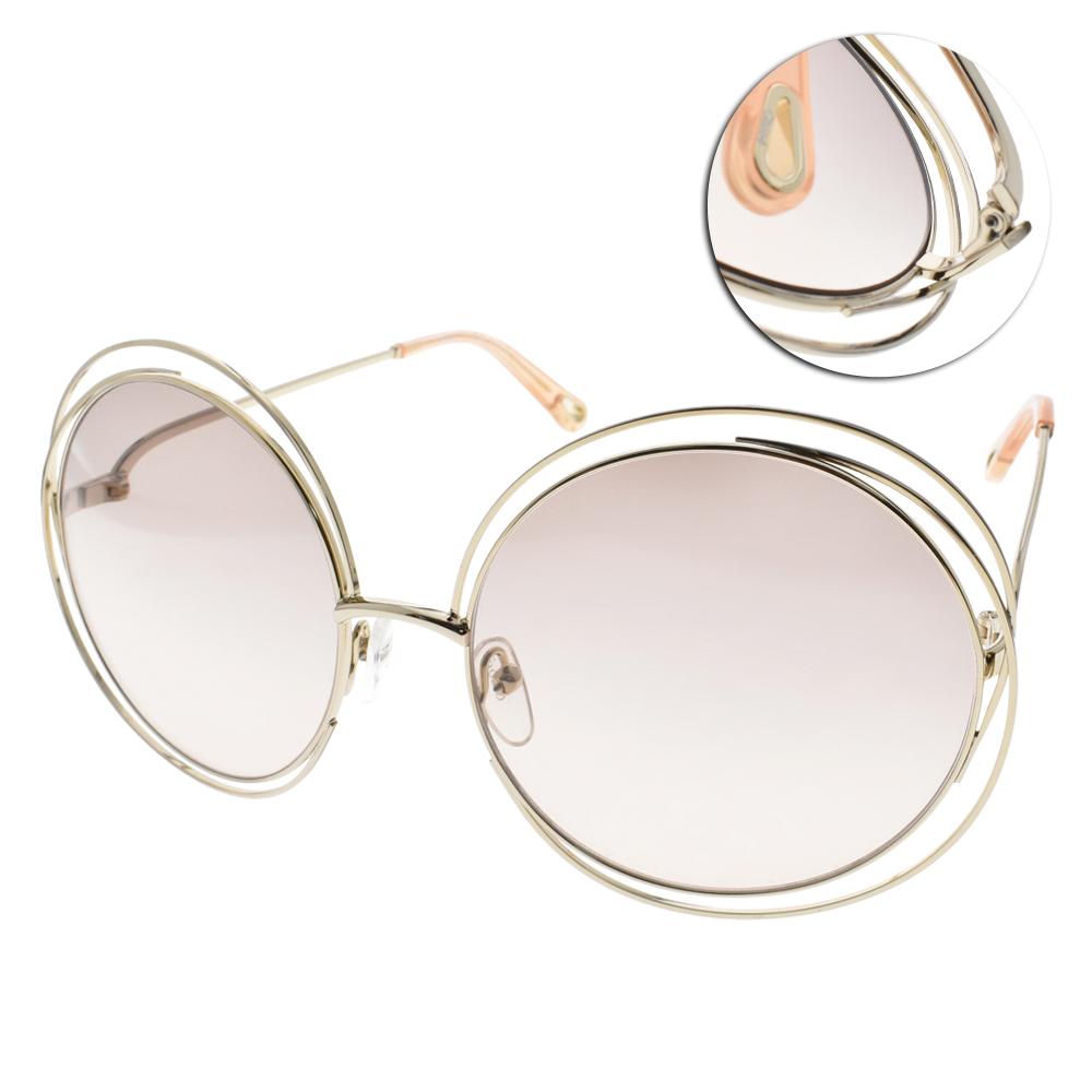 CHLOE太陽眼鏡 金屬造型款/金-粉鏡片#CL114SD 724
