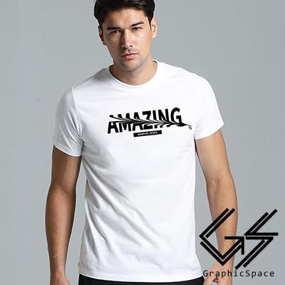 驚奇 變形英文字母磨毛水洗T恤 (白色)-GraphicSpace