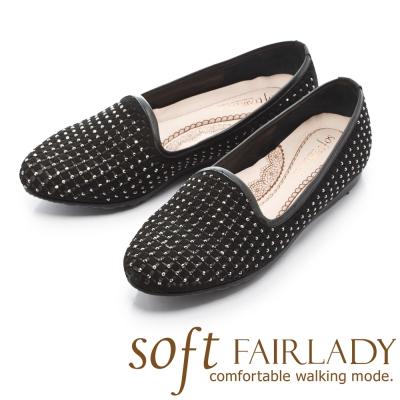 Fair Lady Soft芯太軟 璀璨水鑽雕花樂福休閒鞋 黑