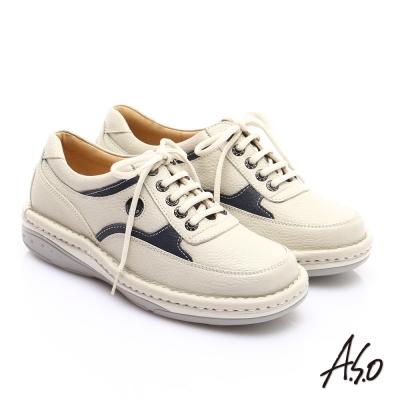 A.S.O 抗震雙核心 真皮外翻雙縫線奈米休閒鞋 米色