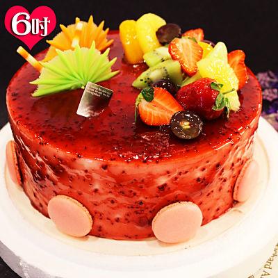 波呢歐 酸甜覆盆子雙餡布丁夾心水果鮮奶蛋糕(6吋)