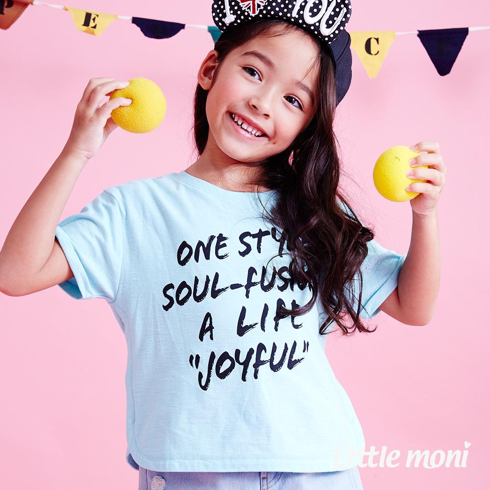 Little moni  清新女孩英文印圖寬版棉T 淺綠色
