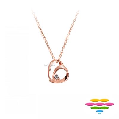 彩糖鑽工坊 玫瑰金 愛心雙心玫瑰金鑽石項鍊 情有獨鍾系列