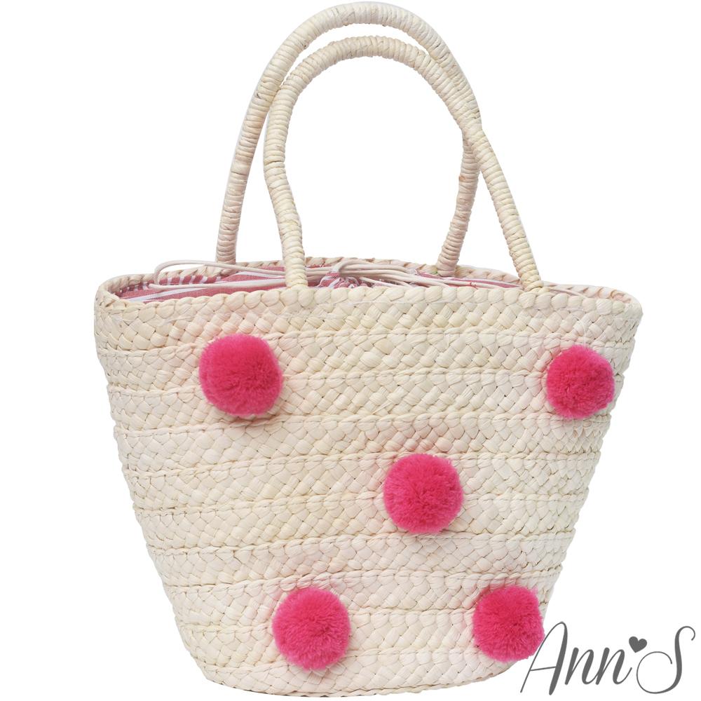 Ann'S粉色球球束口草編包