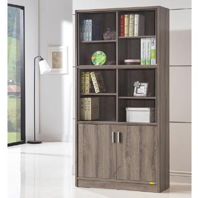 美傢COMDESK十二段玻璃雙門厚板書櫃收納櫃-DIY