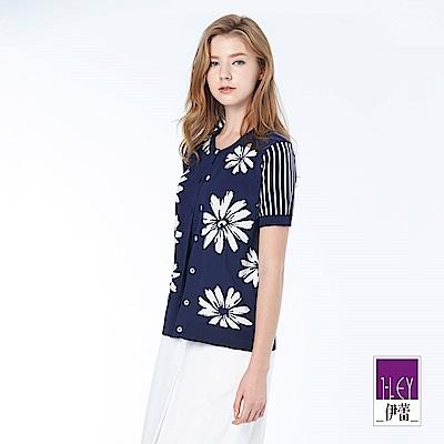 ILEY伊蕾 甜美花卉緹織針織外套(藍)